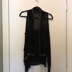 Vest/tank sheer with beaded accents